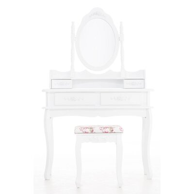 All Home Gretskij Vanity Table Set with Mirror