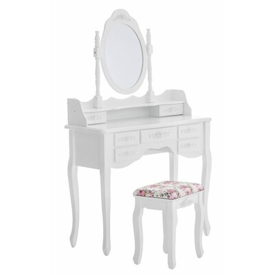 All Home Grebe Vanity Table Set with Mirror