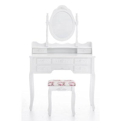 All Home Griffin Vanity Table Set with Mirror