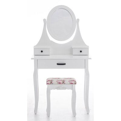 All Home Guenat Vanity Table Set with Mirror