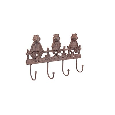 Homestead Living Milbrook Cast Iron 3 Frogs Wall Mounted Coat Rack