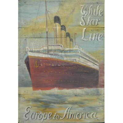 Homestead Living White Star Line Advert Europe to America Original Painting Plaque