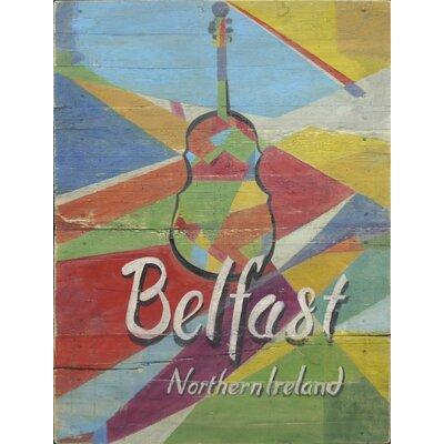 Homestead Living Belfast Guitar Advert Original Painting Plaque