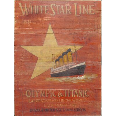 Homestead Living White Star Line Red Advert Original Painting Plaque