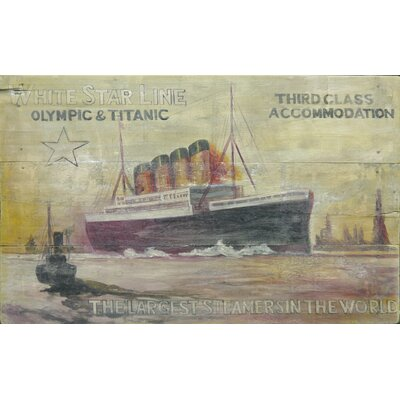 Homestead Living White Star Line 3rd Class Advert Original Painting Plaque