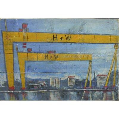 Homestead Living H and W Cranes 1 Original Painting Plaque