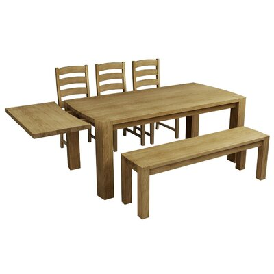 Homestead Living Extendable Dining Table and 3 Chairs and Bench
