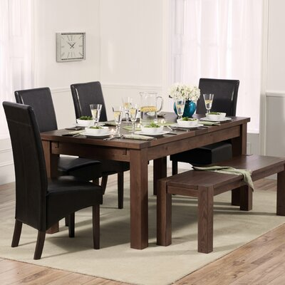 Home Etc Ritual Dark Extendable Dining Table and 4 Chairs and Bench