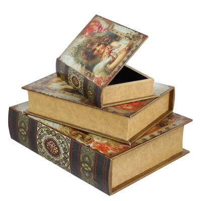 House Additions 3 Piece Vintage Lillian Book Storage Box Set