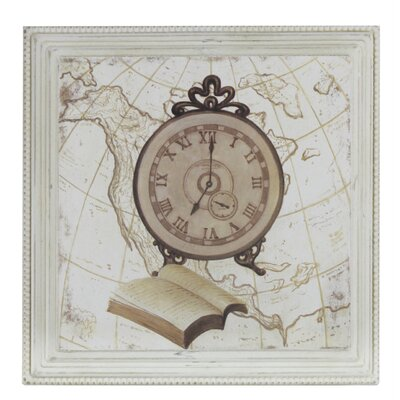 House Additions Vintage Clock and Book Framed Graphic Art