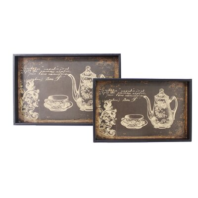 House Additions 2 Piece Around the World Vintage Tea Tray Set
