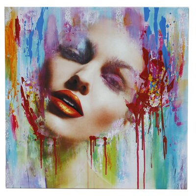 House Additions Abstract Painted Face Graphic Art on Canvas