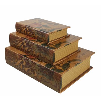 House Additions Vintage Rose 3 Piece Book Storage Box Set