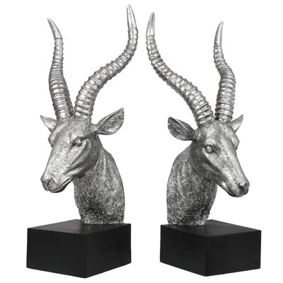 House Additions Antelope Bookend in Silver & Black