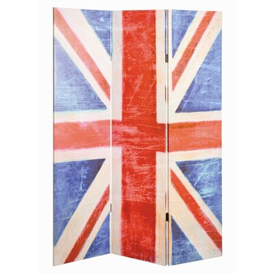 House Additions 180cm x 120cm Union Jack Paravent 3 Panel Room Divider