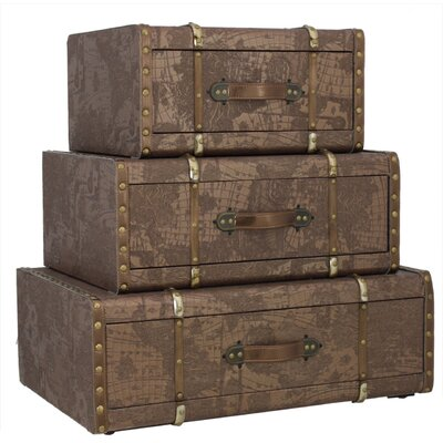House Additions World Map 3 Piece Trunk Set