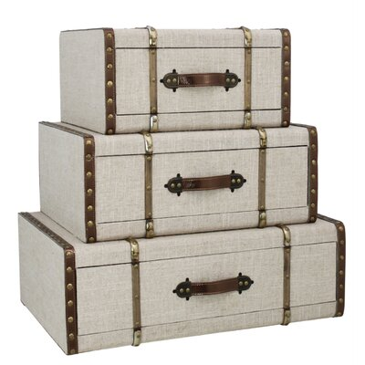 House Additions 3 Piece Hessian Suitcases Set