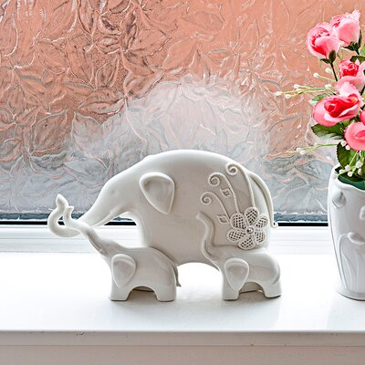 House Additions Elephant with Two Young Figurine
