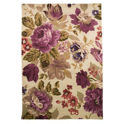 House Additions Hand-Tufted Tan / Purple Area Rug