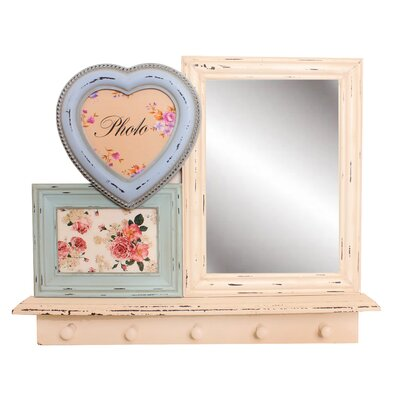House Additions Shabby Elegance Mirror/Hook Shelf