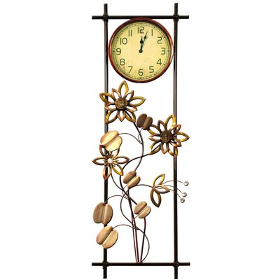 House Additions Metal Art Floral Wall Clock