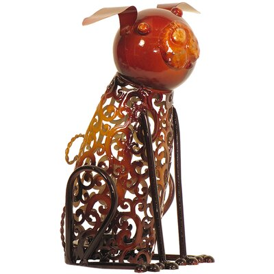 House Additions Metal Art Dog Candle Holder