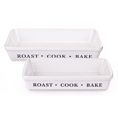 House Additions 2 Piece Rectangular Stoneware Roaster Set in White