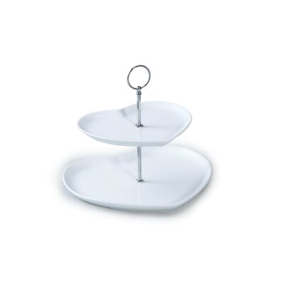 House Additions 23cm 2 Tier Porcelain Heart Shape Cake Stand in White