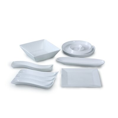 House Additions 6 Piece Porcelain Serving Party Set in White