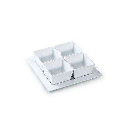 House Additions 5 Piece Porcelain Dip Tray Set in White