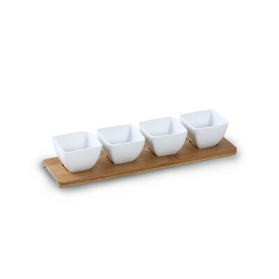 House Additions 5 Piece Porcelain Dip Bowl and Tray Set in White