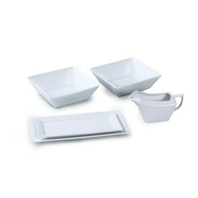House Additions 5 Piece Porcelain Serving Set in White