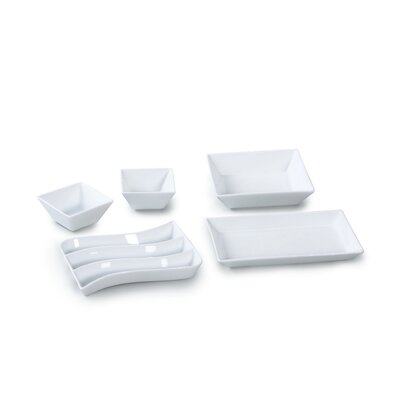 House Additions 5 Piece Porcelain Snack Tray Set in White