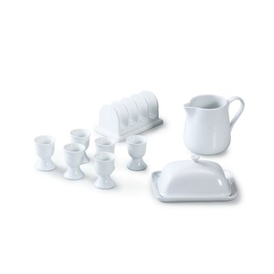 House Additions 9 Piece Porcelain Breakfast Set in White