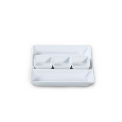 House Additions 4 Piece Porcelain Chip and Dip Tray Set in White