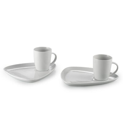 House Additions 4 Piece Porcelain Mug and Snack Tray Set