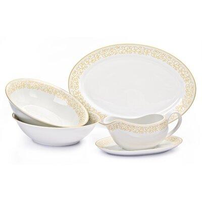 House Additions 5 Piece Porcelain Leaf Serving Set