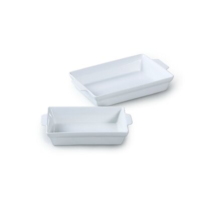 House Additions 2 Piece Rectangle Porcelain Roaster Set in White