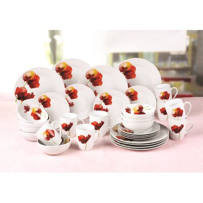 House Additions Porcelain 32 Piece Porcelain Dinnerware Set