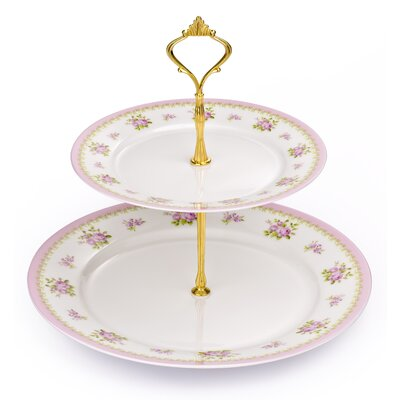 House Additions 2 Tier Bone China Cake Stand in Vintage Rose