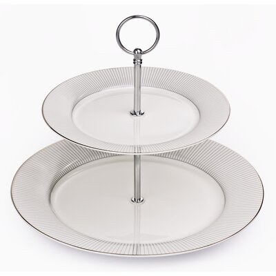 House Additions 2 Tier Bone China Cake Stand in Portland Silver