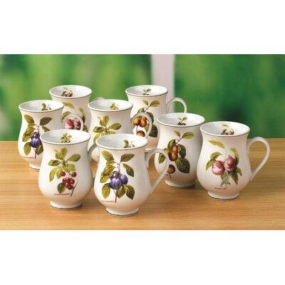 House Additions Orchard Fruit 8 Piece 0.33L Porcelain Mug Set