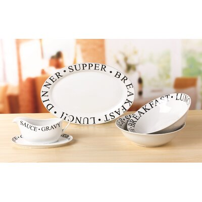 House Additions 5 Piece Porcelain Serving Set in Black Script
