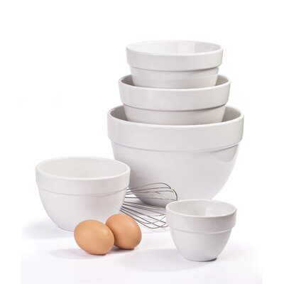 House Additions 5 Piece Stoneware Mixing Bowl Set in White