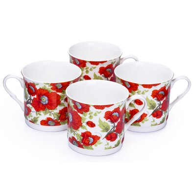 House Additions 0.3L Fine China Tea Cup in Red Poppy