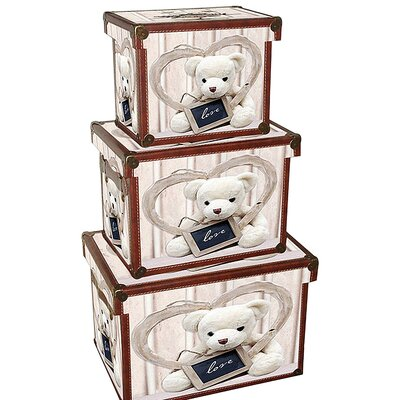 House Additions Teddy 3 Piece Wood/Canvas Trunk Set