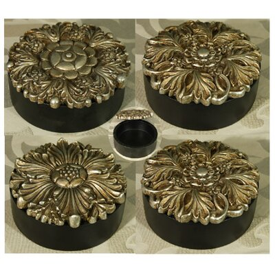House Additions 4 Piece Round Trinket Box Set With Pewter Coloured Lids