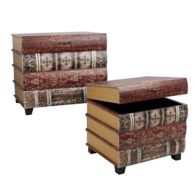 House Additions Wooden Book Trunk