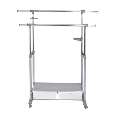 House Additions Height Adjustable Rolling Coat Stand