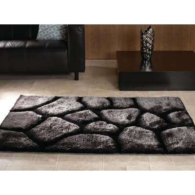 House Additions Arched Handmade Black/Silver Area Rug